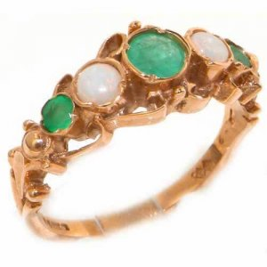 9ct Rose Gold Vibrant Emerald & Opal Ring