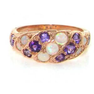 9ct Rose Gold Opal & Amethyst Band Ring
