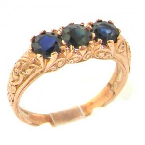 9ct Rose Gold Blue Sapphire Ring