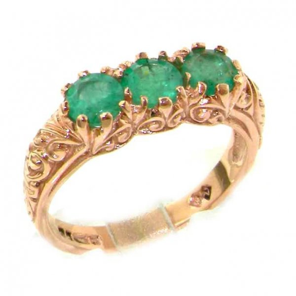 9ct Rose Gold Emerald Ring