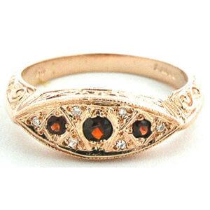 9ct Rose Gold Garnet & Diamond RingFree P&P