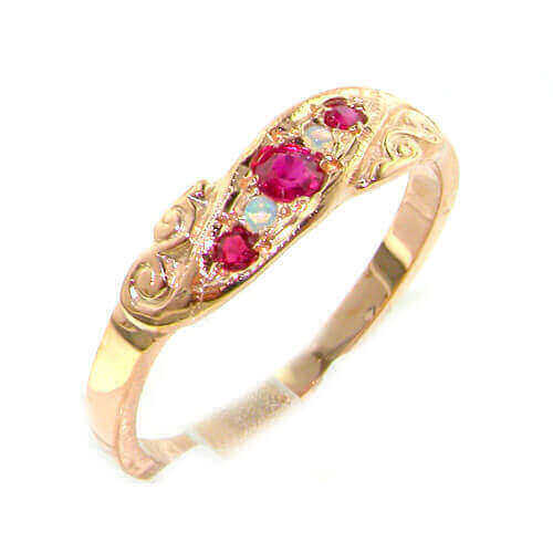 9ct Rose Gold Colourful Fiery Opal & Ruby Ring