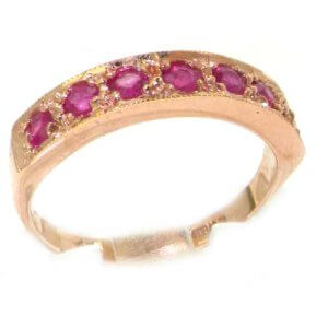Solid English 9ct Rose Gold Ladies Natural Ruby Eternity Band Ring