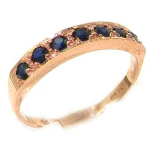 Solid English 9ct Rose Gold Ladies Natural Sapphire Eternity Band Ring