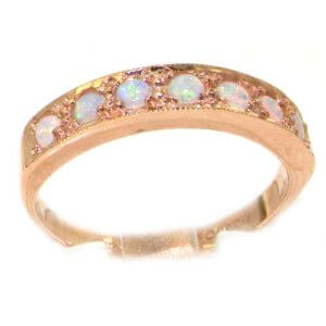 Solid English 9ct Rose Gold Ladies Natural Opal Eternity Band Ring