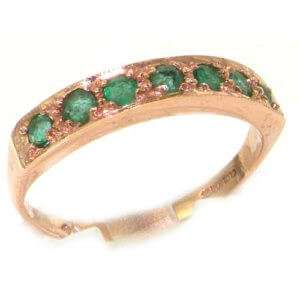 Solid English 9ct Rose Gold Ladies Natural Emerald Eternity Band Ring