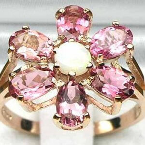 9ct Rose Gold Opal & Pink Tourmaline Ring