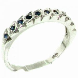 Genuine Solid Sterling Silver Natural Sapphire Eternity Ring
