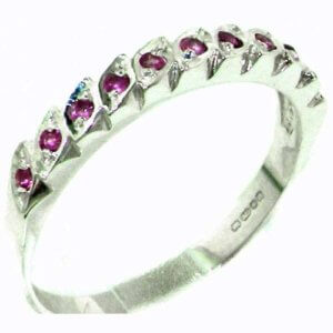 Genuine Solid Sterling Silver Vibrant Natural Ruby Eternity Ring