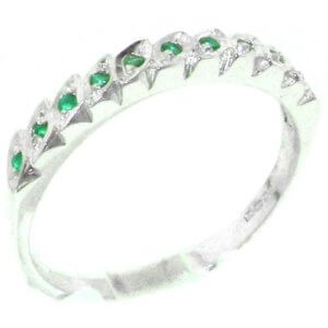 Genuine Solid Sterling Silver Natural Emerald Eternity Ring