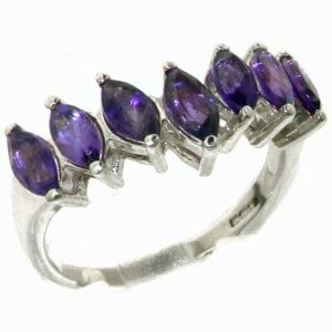 Rare Solid Sterling Silver Natural Amethyst High Quality Wishbone Eternity Ring