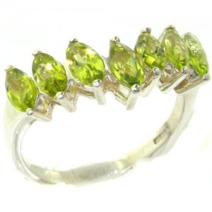 Rare Solid Sterling Silver Natural Peridot High Quality Wishbone Eternity Ring