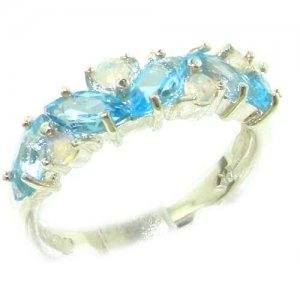Unusual Solid Sterling Silver Natural Fiery Opal & Blue Topaz Eternity Ring