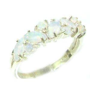 Unusual Solid Sterling Silver Natural Fiery Australian Opal Eternity Ring