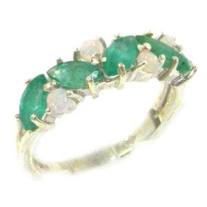 Sterling Silver Opal & Marquise Emerald Ring