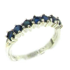 High Quality Solid Hallmarked 14ct White Gold Natural Sapphire Eternity Ring