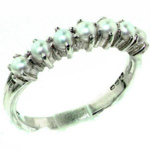 Luxurious Solid Sterling Silver Natural Pearl Ladies Eternity Ring