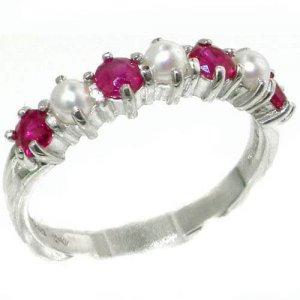 Luxurious Solid Sterling Silver Natural Ruby & Pearl Ladies Eternity Ring