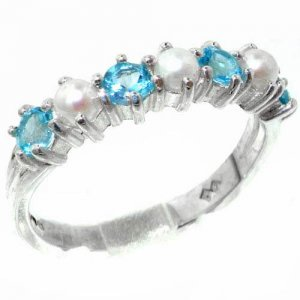 Elegant Solid Sterling Silver Natural Blue Topaz & Pearl Ladies Band Ring