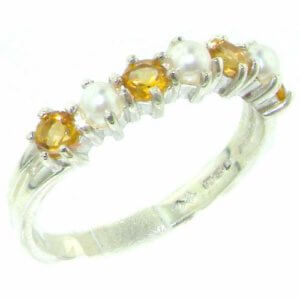Elegant Solid Sterling Silver Natural Citrine & Pearl Ladies Eternity Ring