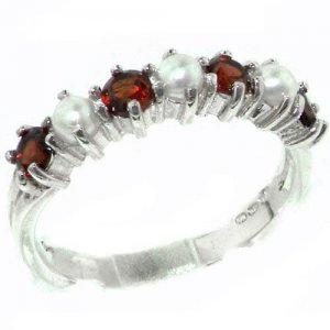 Elegant Solid Sterling Silver Natural Garnet & Pearl Ladies Eternity Ring