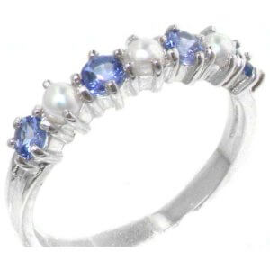 Elegant Solid Sterling Silver Natural Tanzanite & Pearl Ladies Eternity Ring