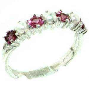 Luxurious Solid Sterling Silver Natural Pink Tourmaline & Pearl Ladies Eternity Ring