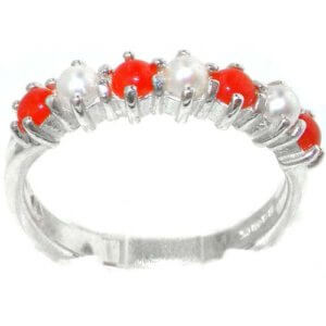 Luxurious Solid Sterling Silver Natural Coral & Pearl Ladies Eternity Ring