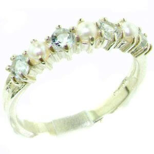 Elegant Solid Sterling Silver Natural Aquamarine & Pearl Ladies Eternity Ring
