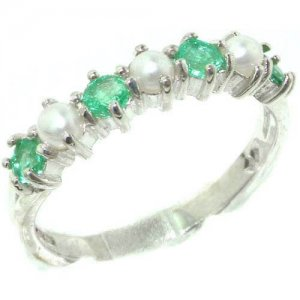 Exquisite Solid English Sterling Silver Natural Emerald & Pearl Ladies Eternity Ring