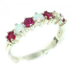 High Quality Solid 14ct White Gold Natural Fiery Opal & Ruby Eternity Ring