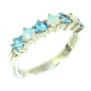 High Quality Solid 14ct White Gold Natural Fiery Opal & Blue Topaz Eternity Ring