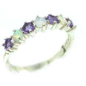 High Quality Solid 14ct White Gold Natural Fiery Opal & Amethyst Eternity Ring