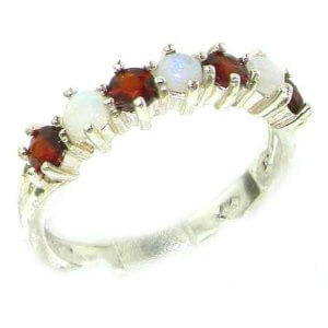 High Quality Solid 14ct White Gold Natural Fiery Opal & Garnet Eternity Ring