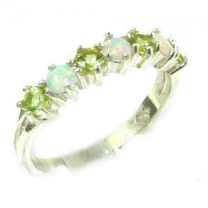 High Quality Solid 14ct White Gold Natural Fiery Opal & Peridot Eternity Ring