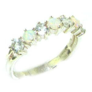 High Quality Solid 14ct White Gold Natural Fiery Opal & Aquamarine Eternity Ring