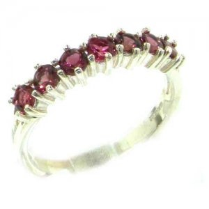 High Quality Solid Hallmarked Sterling Silver Natural Pink Tourmaline Eternity Ring