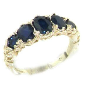 High Quality Solid 14ct White Gold Natural Sapphire English Victorian Ring