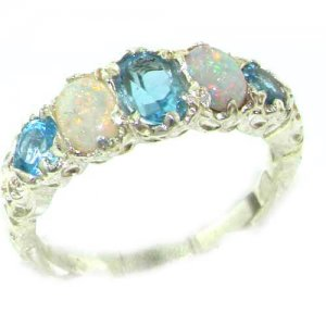 High Quality Solid 14ct White Gold Natural Blue Topaz & Opal English Victorian Ring