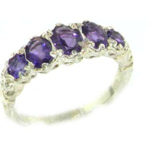 High Quality Solid 14ct White Gold Natural Amethyst English Victorian Ring