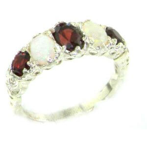 High Quality Solid 14ct White Gold Natural Garnet & Opal English Victorian Ring