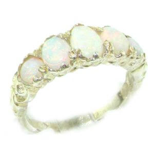 High Quality Solid 14ct White Gold Natural Very Colorful Opal English Victorian Ring