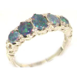 High Quality Solid 14ct White Gold Fiery Opal English Victorian Ring