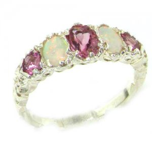 High Quality Solid 14ct White Gold Natural Pink Tourmaline & Opal English Victorian Ring