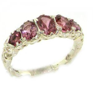 High Quality Solid 14ct White Gold Natural Pink Tourmaline English Victorian Ring