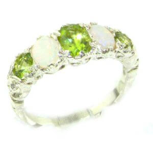 High Quality Solid 14ct White Gold Natural Peridot & Opal English Victorian Ring