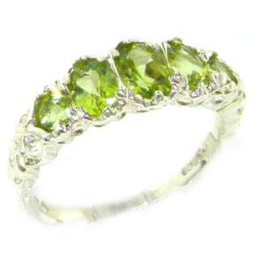 High Quality Solid 14ct White Gold Natural Peridot English Victorian Ring