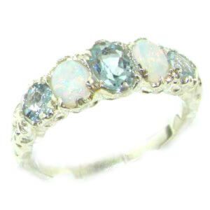 High Quality Solid 14ct White Gold Natural Aquamarine & Opal English Victorian Ring