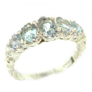 High Quality Solid 14ct White Gold Natural Aquamarine English Victorian Ring
