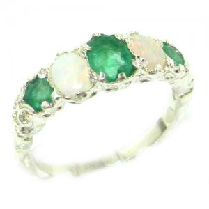 High Quality Solid 14ct White Gold Natural Emerald & Opal English Victorian Ring